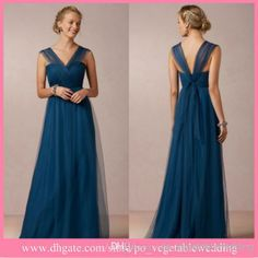 BRIDESMAIDS (style) Wholesale Pageant Dress - Buy BHLDN 2014 New V-neck A-line Tulle/Net Long Navy Blue Maid Of Honor Dresses Party Wedding Beach Bridesmaid Dresses Cap Sleeves, $88.35 | DHgate