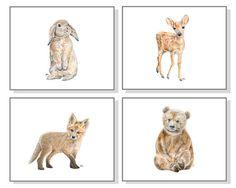 Woodland Nursery Art Forest Animal Painting Baby Animal Print Animal Watercolor…