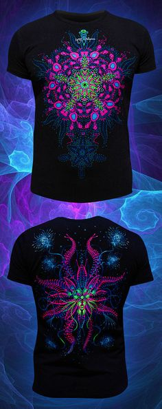 rave psychedelic t-shirt Glow in the Dark and under by CosmicSoma