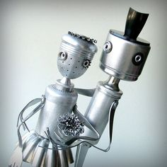 Man and Wife  Robot Sculpture  ooak recycled art by leuckit, $175.00