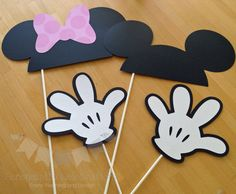 4 Piece Photo Prop, Minnie and Mickey Mouse Inspired Photo Props, Photo Booth Props, Mouse Ear Props