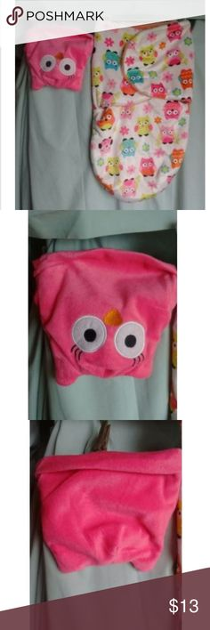 Little Beginning Owl Fleece Sherpa Lined Sleep Bag Up for sale is a Little Beginnings But Owl Themed swaddle bag sleep sack in new condition. This excellent New set comes with an all Pink Owl Hat with eyes and ears! This set doesn't have a size, but from laying it next to other swaddle bags ( that are sized) I am guessing this is Newborn to  6 months. This set has never been used, I pulled the tags off then this wonderful Swaddle Bag got lost in the back of my baby girls closet. This set…