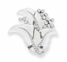 A rock crystal and diamond 'Feuillage' brooch, by Suzannne Belperron