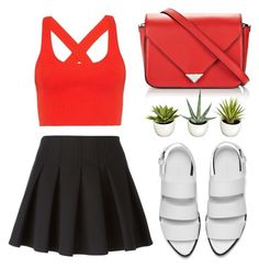 """Untitled #150"" by askgnv ❤ liked on Polyvore featuring Alexander Wang, T By Alexander Wang, omg, black, red, plant and peasanttop"