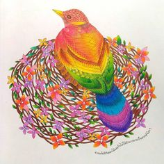 (3/3) My rainbow bird 🐦💕 I can make it. 😍😂  .  .  .  #coloringbook #coloringbookforadults #tropicalwonderland #milliemarotta #art #arttherapy #coloring #artwork #coloringproject