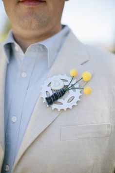 bicycle themed boutonniere - Mammoth Lakes Wedding from joielala photographie