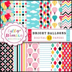 Bright Balloons Digital Papers - 12 digital papers in bright red, blue, orange and pink.  Great for invitations, scrapbooking and more.