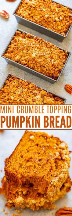 Makes 3 mini loaves Pumpkin Nut Bread, Pumpkin Coffee Cakes, Pumpkin Chocolate Chip Bread, Pumpkin Spice Syrup, Vegan Pumpkin, Pumpkin Recipes, Pumpkin Deserts, Dessert Bread, Dessert Recipes