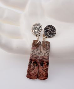 Chohua Jasper Earrings – Reticulated Sterling Silver post earrings – Scent of Summer – pink stone earrings