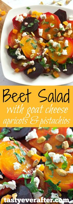 This easy and healthy beet salad is perfect for brunch or dinner, as a salad course or as a vegetarian side dish.  Leftovers are wonderful for lunch too!
