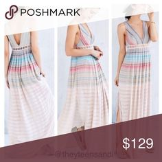 Urban Outfitters Ecote Sanibel Rainbow Maxi Dress Airy sleeveless maxi dress from Ecote in a unique mix-stitched rainbow gauze fabric we love. Cut with a v-neck front and back trimmed with lattice detailing along the empire waist. Side zip closure. Lining down to about mid thigh. All sizes now sold out online.  Content + Care - Shell: 87% Rayon/13% Cotton/1 % Metallic - Lining: 100% Polyester - Lace: 100% Cotton Urban Outfitters Dresses