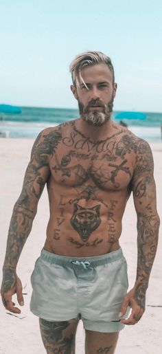 Amazing Beard And Hairstyle Combinations For Men diy tattoo - diy tattoo images - diy tattoo ideas - Diy Tattoo, Tattoo Man, Tattoo Ideas, Back Tattoo Men, Body Art Tattoos, Sleeve Tattoos, Men Tattoos, Wolf Tattoos, Small Tattoos