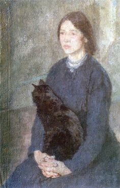 Young Woman Holding a Black Cat Gwen John 1920 cats in art Art And Illustration, Illustrations, Figure Painting, Painting & Drawing, Black Cat Painting, Gwen John, Mary John, L'art Du Portrait, Portraits