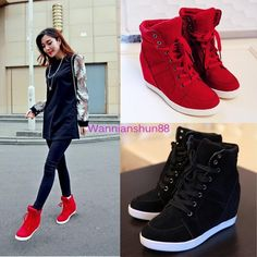 529a81f7fb5d Details about Women s Lady High Top Lace Up Sneaker Hidden heel Wedge Heel  Ankle Boots Shoes