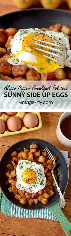 Crispy Aleppo Pepper Breakfast Potatoes with Sunny Side Up Eggs - Vintage Kitty