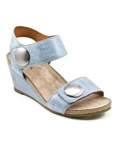 Look what I found on #zulily! Dusty Blue Carousel Leather Wedge Sandal by Taos Footwear #zulilyfinds