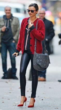 Miranda Kerr In Red Black Leather Shades Red Cardigan Miranda Kerr Street Style