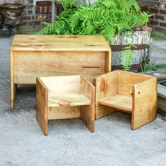 Learn how to build a DIY Toddler Table and Chair set that flips and converts to a bench and stools as well. There are so many configurations to use this! wood projects projects diy projects for beginners projects ideas projects plans