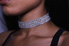 Silver Diamond Choker Necklace
