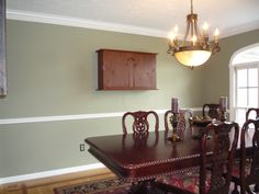 Dining Room Two Tone Paint Ideas dining room on hardwood floors chair rail and crown moldings and