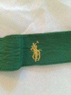 """Vintage Ralph Lauren Green Gross Grain Belt 29"""" Preppy Palm Beach #RalphLauren"""