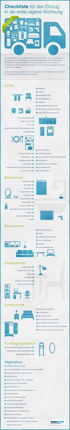 Checkliste, Umzug, erste Wohnung, umziehen, Tipps, Studenten, Auszubildende, Einrichten, Möbel, Infografik. Hier finden Sie mehr Infos http://www.immonet.de/service/checkliste-erste-wohnung.html #immonet hat die Tipps