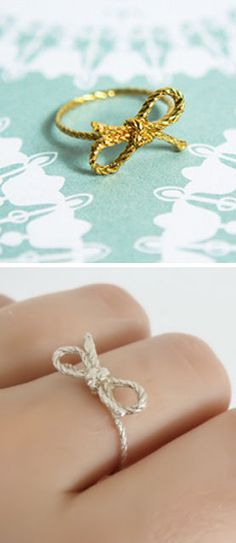 Forget Me Knot Bow Ring <3 This would make a beautiful engagement/promise ring with a pretty little diamond in the knot..