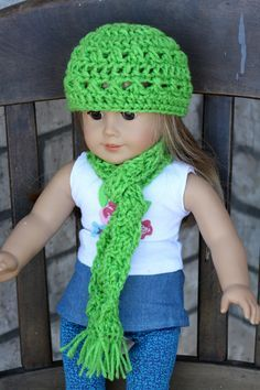 free scarf pattern for 18 inch doll | ... Vest and Hat for American Girl Dolls -Yellow with Stripes- ready to