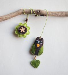 Felt owl bookmark, felt owl ornament