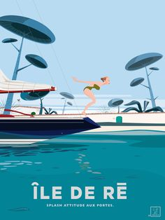 Travel Ads, Time Travel, Under The Shadow, Vintage Travel Posters, Retro, Illustrations, Boat, France, Graphics