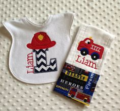 Baby Boy 2 PC Gift Set, Personalized Bib and Burp Cloth, Fire Truck and Hat Applique Design on Etsy, $16.00