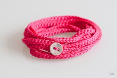Crochet Bracelet and Necklace in one piece. Pink . by idniama