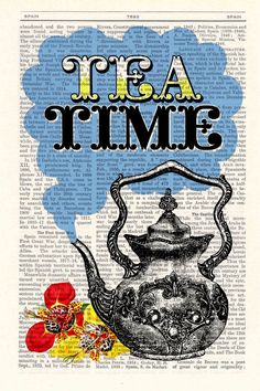 Tea Time Vintage Dictionary Book altered art dictionary page illustration book print