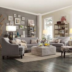 When homeowners invite guests and company into their home typically the first thing that visitors see is the living room, or family room, of the house. Unless there is a foyer before the living roo… Living Room Paint, Living Room Grey, Home Living Room, Living Room Furniture, Living Room Designs, Living Room Decor, Cozy Furniture, Window Furniture, Grey Room