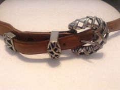 Vicenza Mens Brown Leather Ornate Snap Silver Tone Buckle Belt Size 34 #Vicenza