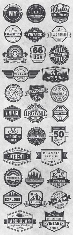 Buy 30 Vintage Style Badges and Logos Vol 6 by GraphicMonkee on GraphicRiver. This vector set contains 30 vintage / retro styled badges, signs and logos. The graphics are vector and are comp. Retro Vintage, Vintage Labels, Style Vintage, Vintage Fashion, Vintage Graphic, Graphics Vintage, Vector Graphics, Retro Style, Typography Logo