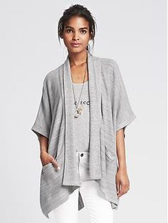 Textured Fringe Poncho | Banana Republic