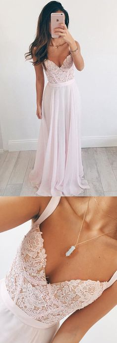 Stylish V-neck Floor-Length Pearl Pink Prom Dress with Appliques Beading prom,prom dress,prom dresses,long prom dress,2017 prom dress