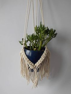 This original macrame plant hanger is handmade from 3mm natural white cotton braided cord. It can also be made of black polypropylene braided cord. It is 31 (80 cm) long from the top loop to the end of the basket, meassured without pot inside. Recommended pot size is from 5 to 8 (12 -