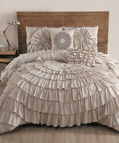 Look at this Taupe Sadie Circle-Ruffle Five-Piece Comforter Set on #zulily today!