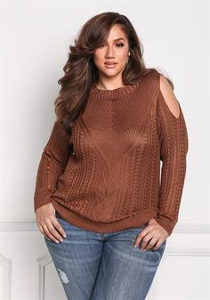 Plus Size Cold Shoulder Thick Knit Sweater