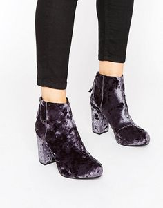 Office | Office Annie Gray Velvet Heeled Ankle Boots