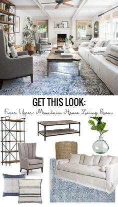 Get This Look: Fixer Upper Mountain House Living Room #livingroomdecor  #fixerupper #joannagaines