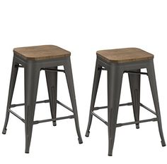 Metal Bar Stools – Modern Bright Style Stackable Studio Stool (Set of 2) Best choice for office, party, or any occasion. Stackable and sturdy set of two(2) bar stools made of 100 percent steel and clear coating and non-mar foot glides. Made specially in 24-inch height fully assembled and... see more details at https://bestselleroutlets.com/home-kitchen/furniture/game-recreation-room-furniture/product-review-for-btexpert-24-inch-industrial-tabouret-antique-distressed-gun