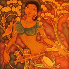 Get creative wall painting for your living room Orange-Red by Manikandan Punnakkal on Kerala Mural Painting, Madhubani Painting, Cute Paintings, Indian Art Paintings, Mural Wall Art, Murals, Indian Art Gallery, Indian Folk Art, Figure Painting