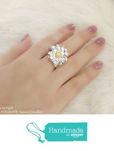 Handmade Daisy Flower on Olive Leaf, Greek Nature Inspired, Open, one size, Adjustable Ring from ANEMONE Natural Jewellery https://www.amazon.com/dp/B06XB6P3ZW/ref=hnd_sw_r_pi_dp_G9zSybZF7BVM6 #handmadeatamazon