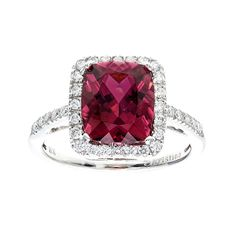 Kristina Bright Pink Tourmaline White Diamond Ring | From a unique collection of vintage engagement rings at https://www.1stdibs.com/jewelry/rings/engagement-rings/