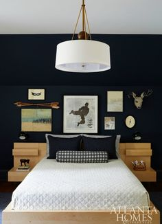 The son's room features a gallery wall of pieces that represent his favorite hobbies, including a Karate figure painting gifted to him by Tom Swanston. Boys Bedroom Paint, Boys Bedroom Decor, Home Bedroom, Bedroom Ideas, Bedroom Hacks, Bedroom Images, Atlanta Homes, New Room, Interior Design