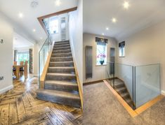 When it comes to aesthetics, a staircase should integrate into the & not look like an add-on or a later addition, so don't just stop at the –consider the landing too! We especially like the glass panels & continued wood edges on this past project of ours. Staircase Contemporary, Modern Contemporary, Staircases, Glass Panels, Landing, Beautiful Homes, Aesthetics, Floor Plans, Stairs