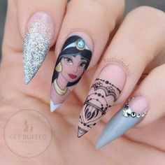 We all want beautiful but trendy nails, right? Here's a look at some beautiful nude nail art. Disney Acrylic Nails, Cute Acrylic Nails, Cute Nails, Pretty Nails, Crazy Nail Art, Crazy Nails, Nail Art Dessin, Disney Inspired Nails, Jasmine Nails